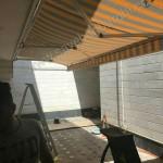 پروژه سایبان برقی پارچه برزنتی نسکافه ای خط دار -01