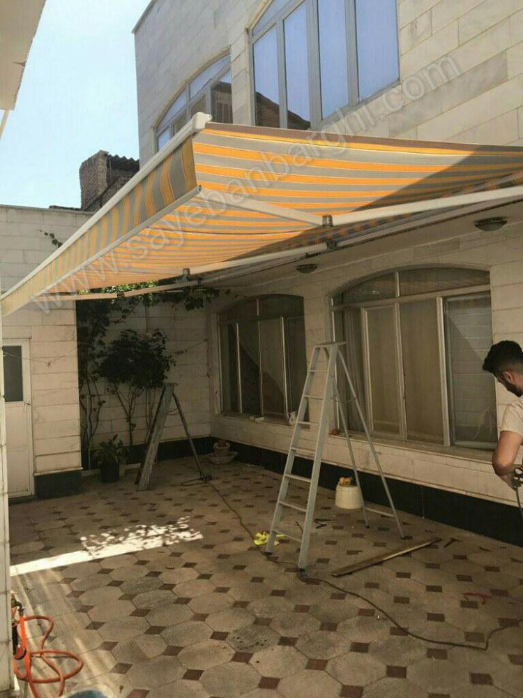 پروژه سایبان برقی پارچه برزنتی نسکافه ای خط دار