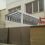 پروژه سایبان برقی پارچه برزنتی نسکافه ای خط دار -09